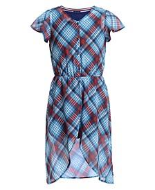 Big Girls Plaid Walkthrough Romper Dress
