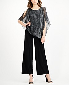 Metallic Cape-Overlay Jumpsuit