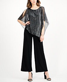 Connected Metallic Cape-Overlay Jumpsuit