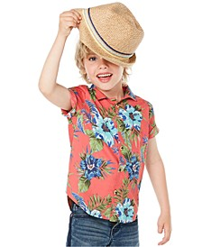 Little Boys Floral-Print Poplin Camp Shirt, Created for Macy's