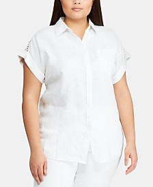 Lauren Ralph Lauren Plus-Size Lace Insert Dolman-Sleeve Shirt