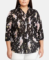 9b82f166a Lauren Ralph Lauren Plus-Size Floral-Print 3/4-Sleeve Cotton Shirt