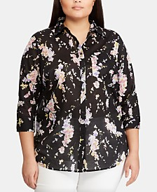 Lauren Ralph Lauren Plus-Size Floral-Print 3/4-Sleeve Cotton Shirt