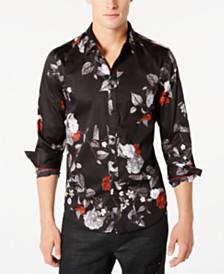 GUESS Men's Luxe Dark Garden Stretch Floral-Print Shirt