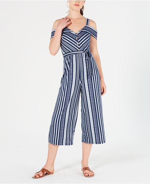 BCX Juniors' Knit Stripe Jumpsuit