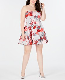 B Darlin Trendy Plus Size Strapless Fit & Flare Dress, Created for Macy's