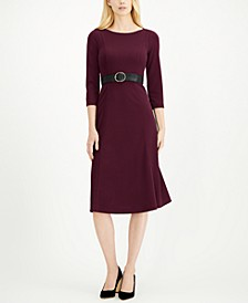 3/4-Sleeve Belted Midi Dress