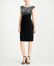 Metallic Faux-Wrap Dress