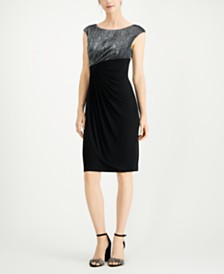 Connected Metallic Faux-Wrap Dress
