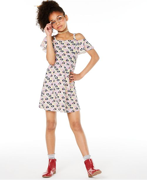 Epic Threads Big Girls Heart-Print Cold-Shoulder Dress, Created for Macy's