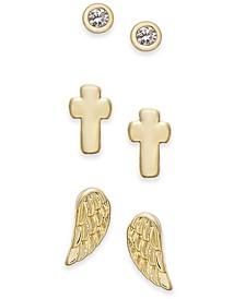 Gold-Tone 3-Pc. Set Faith-Inspired Stud Earrings