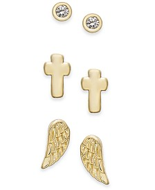 Kitsch Gold-Tone 3-Pc. Set Faith-Inspired Stud Earrings