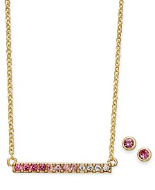 Kitsch Gold-Tone 2-Pc. Set Crystal Ombré Bar Necklace & Stud Earrings Set