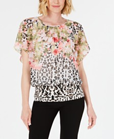 JM Collection Petite Mixed-Print Banded Top, Created for Macy's