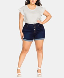 City Chic Trendy Plus Size Button-Through Jean Shorts