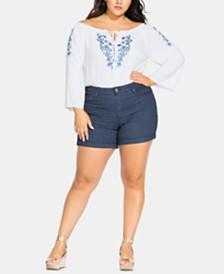 City Chic Trendy Plus Size Stripe Away Jean Shorts
