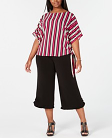 MICHAEL Michael Kors Plus Size Striped Tie-Hem Top