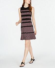 Michael Michael Kors Foulard-Print Paneled Dress, in Regular & Petite Sizes