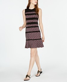 Michael Michael Kors Foulard-Print Paneled Dress, in Regular & Petite Sizes