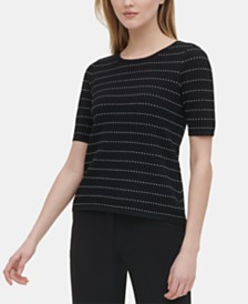 Calvin Klein Stitched-Stripe Sweater