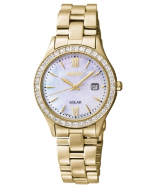 Seiko Watch, Women's Solar Gold-Tone Stainless Steel Bracelet 28mm SUT076