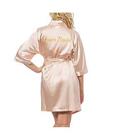 Cathy's Concepts Team Bride Blush Satin Robe