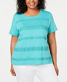 Plus Size Coastal Drive Crochet-Stripe Top