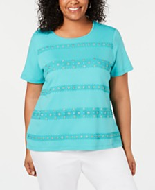 Alfred Dunner Plus Size Coastal Drive Crochet-Stripe Top