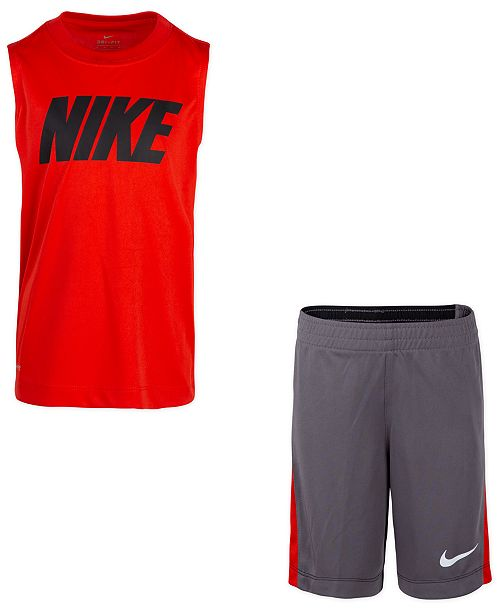 Nike Little Boys 2-Pc. Dri-FIT Sleeveless T-Shirt & Tricot Shorts Set
