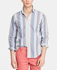 Men's Big & Tall Classic Fit Striped Cotton Shirt