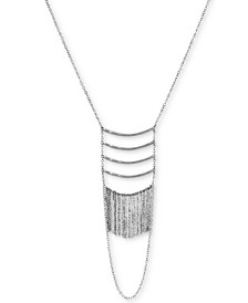 "Silver-Tone Bar & Chain Fringe Layered Statement Necklace, 26"" + 2"" extender"