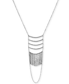 "Lucky Brand Silver-Tone Bar & Chain Fringe Layered Statement Necklace, 26"" + 2"" extender"
