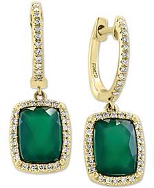 EFFY® Green Onyx & Diamond (1/5 ct. t.w.) Drop Earrings in 14k Gold