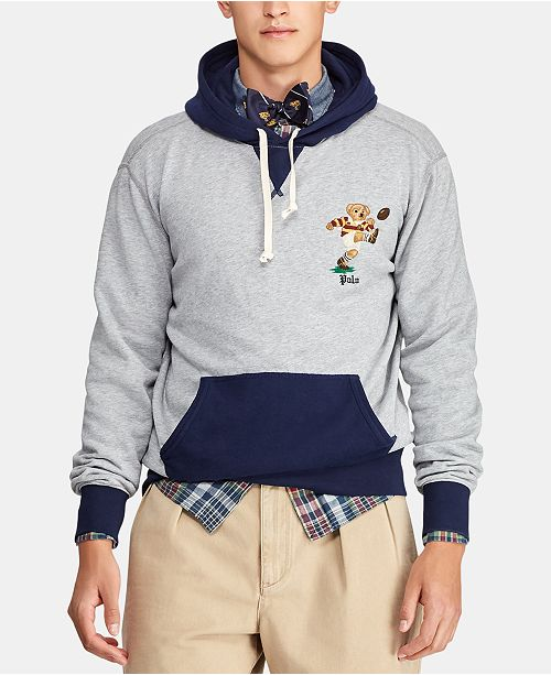 Polo Ralph Lauren Men's Big & Tall Rugby Bear Fleece Hoodie