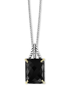 "EFFY® Onyx (18 x 14mm) & White Sapphire (1/10 ct. t.w.) 18"" Pendant Necklace in Sterling Silver & 18k Gold-Plate"