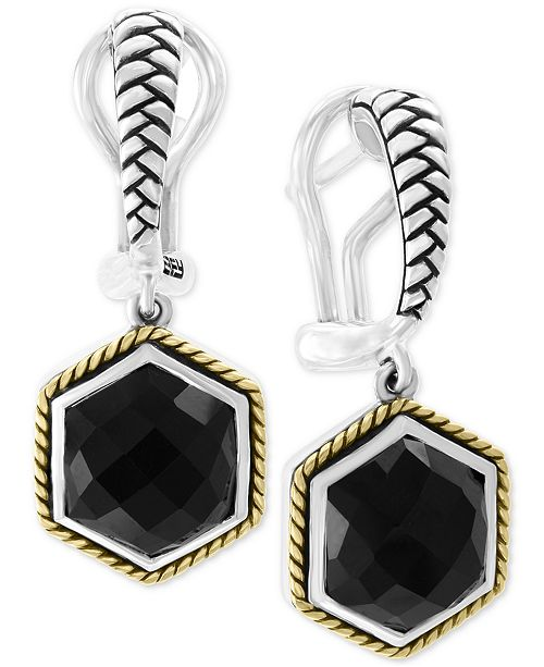 EFFY Collection EFFY® Onyx (10-1/2 x 9mm) Hexagon Drop Earrings in Sterling Silver & 18k Gold-Plate