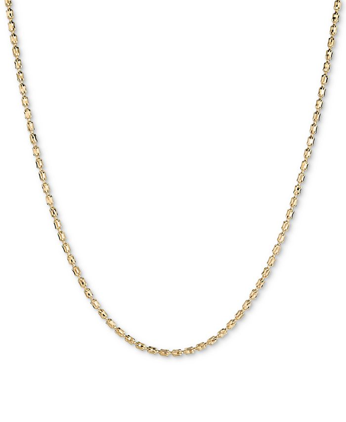 """Italian Gold - Textured Barrel Link 18"""" Chain Necklace in 14k Gold"""