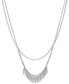 "Lucky Brand Silver-Tone Bead-Fringe Layered Necklace, 16"" + 2"" extender"