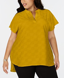 Alfani Plus Size Split-Neck Textured Top, Created for Macy's