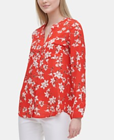 Calvin Klein Floral-Print Flap-Pocket Top