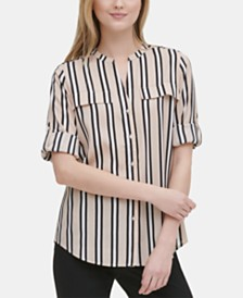Calvin Klein Printed Roll-Tab Button-Up Top