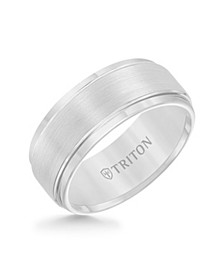 Men's White Tungsten Carbide Ring, Comfort Fit Wedding Band (9mm)