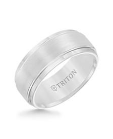 Triton Men's White Tungsten Carbide Ring, Comfort Fit Wedding Band (9mm)