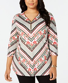 JM Collection Plus Size Zip-Neck Tunic, Created for Macy's