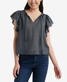 Lucky Brand Cotton Flutter-Sleeve Top