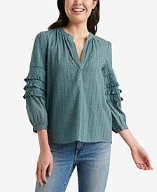 Cotton Ruffle-Sleeve Peasant Top
