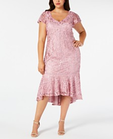 R & M Richards Plus Size Sequined Soutache Midi Dress