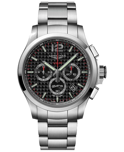 Longines Men's Swiss Chronograph Conquest V.H.P Stainless Steel Bracelet Watch 42mm