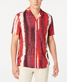 I.N.C. Men's Regular-Fit Tie-Dyed Stripe Camp Shirt, Created for Macy's