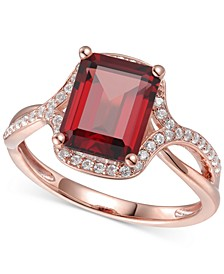 Garnet (2-3/4 ct. t.w.) & Diamond (1/4 ct. t.w.) Statement Ring in 14k Rose Gold (Also available in Mystic Topaz, Citrine & Blue Topaz)